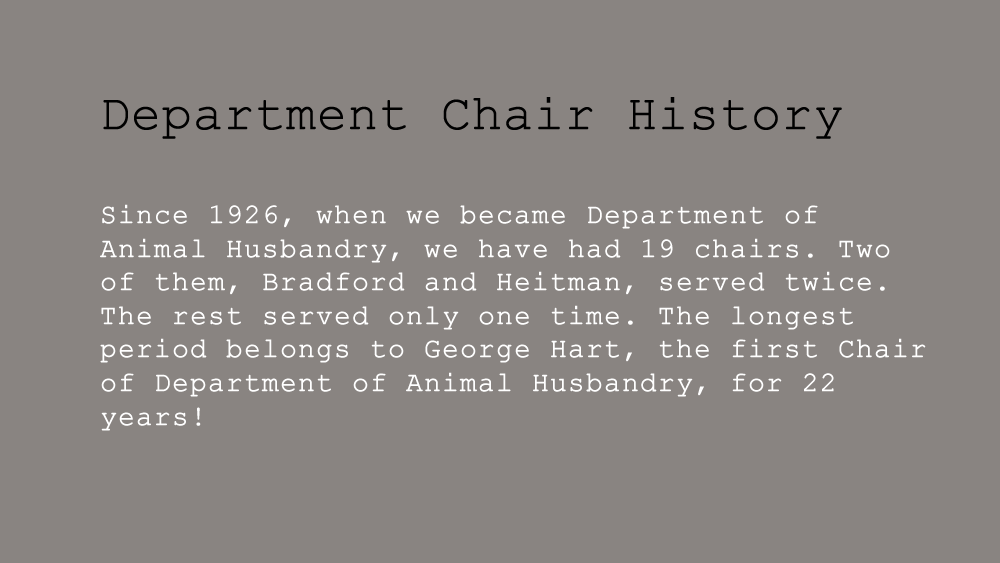 Department Chairs
